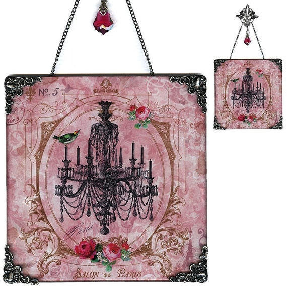 Chandelier Glass Wall Decoration - Vintage Paris Fashion  - Salon de Paris Chandelier