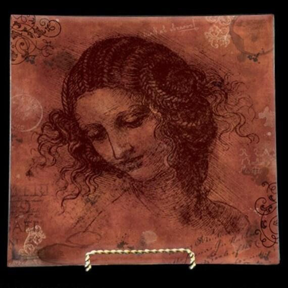 "Da Vinci Handmade Decoupage Glass Plates - 7, 8, 9, or 10"" Art Masters Sketchbook Series- Da Vinci Rustic Red"