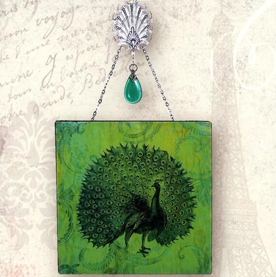 Peacock Plume Wall Hanging - Vintage Paris Fashion - Glass Wall Pendant - Peacock Plume
