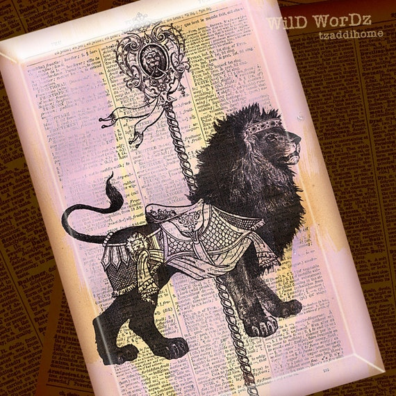 Carousel Lion Glass Wall Hanging from Upcycled Dictionary page book art - WilD WorDz En Francais Collection- CaRouSeL Lion dans la Lavande