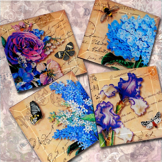 To Paris with Love Coasters - Vintage Paris Fashion Decoupage Coaster Set