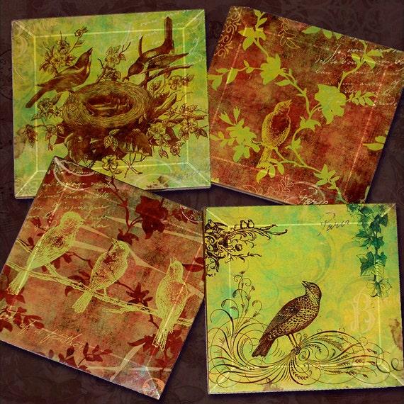 Bird Coasters - Handmade Decoupage Glass Beveled Coaster Set - Vintage Paris Fashion - Birds of a Feather Lemongrass