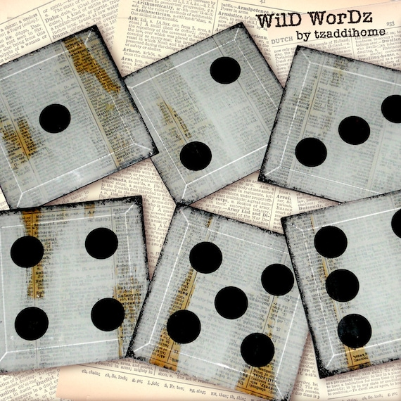 Roll the Dice Handmade Glass Coaster Set from Upcycled Dictionary page book art - WilD WorDz