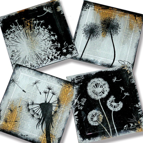 Dandelion Handmade Glass Coaster Set from Upcycled Dictionary page book art - WilD WorDz - Wishing Wordz