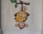 Embroidered bathroom hand towel - Monkey See All For Me