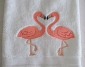 Embroidered Loving Flamingos on a 100% cotton hand towel