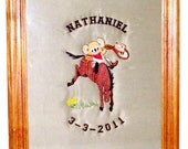 Embroidered, Quilted and Personalized Cowboy Koala Framed Art
