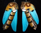 Turquoise Nomad Feather Earrings by Bird Crap Featherwear