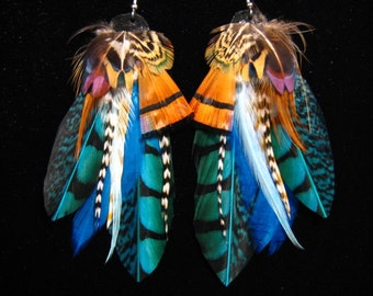 Blue Desert Nomad Feather Earrings by Bird Crap Featherwear