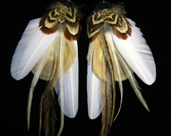 White Nomad Feather Earrings by Bird Crap Featherwear