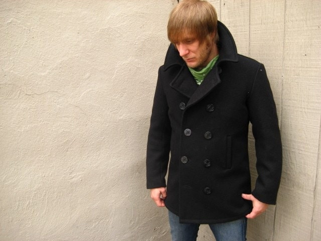 Men's US Military Black Wool Pea Coat