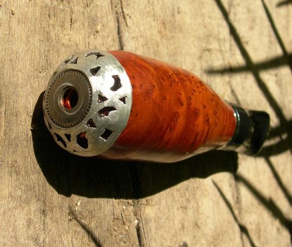 QUIT ... LOOSE ... RELAX, Stay Alert,  Steampunk Burl Wood Peppermint Vapor Pipe Pocket Vaporizer