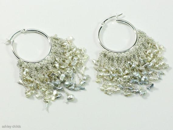 Deluxe Akoya Keshi Pearl & Argentium Silver Layered Chain Fringe Hoop Earrings, AC0256