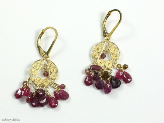 Pink Tourmaline, Pink Sapphire Gold Vermeil, 14ktgf Filigree Earrings, AC0527