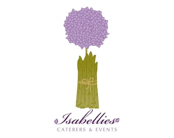 Custom Logo Design Services with etsy shop banner and avatar - Hydrangea Asparagus Catering Logo