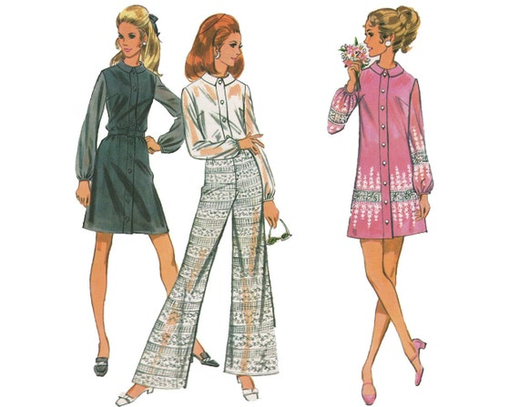 LAST CHANCE Comfort Gal - Vintage 1960s Mini Dress, Blouse and Bell Bottom Pants Sewing Pattern by McCall's