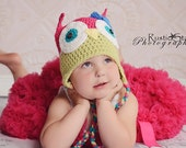 Adult size Celery Green & Pink Owl Hat With Big Blue Flower