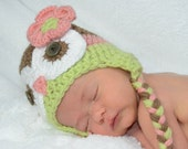 Brown Pink and Celery Green Owl Hat leg warmers and daiper cover