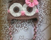 Size 12-18 months Brown And Pink Owl Hat With Feather Poofs