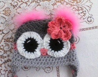 Adult Grey & Pink Owl Hat with Feather Poofs
