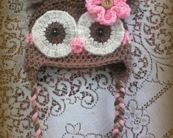 Brown And Pink Owl Hat With Feather Poofs