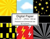 Buy 2 Get 1 Free SALE - super hero digital paper - Superhero - 6 Digital Papers - 8.5 x 11 JPEG