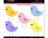 bird clip art clipart  digital clip art pink blue yellow purple orange - Lil Bird - Digital Clip Art
