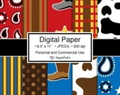 digital paper - Wild West Cowboy - 10 Digital Papers - 8.5 x 11 JPEG