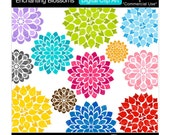 flowers clip art digital clipart modern blooms - Enchanting Blossoms - Digital Clip Art