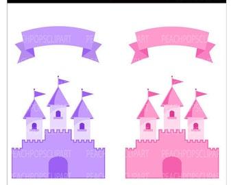 cute Fairy Tale Castle clip art digital clipart pink purple - Fairy Tale Castle - Digital Clip Art
