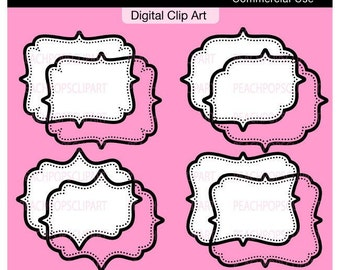 frame clip art digital clip art modern - A La Chic Dots 1 Tags and Frames - Digital Clip Art