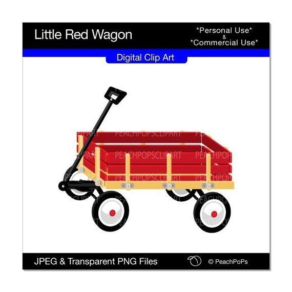 Little Boy Toys Clip Art : Little red wagon digital clip art design element cute
