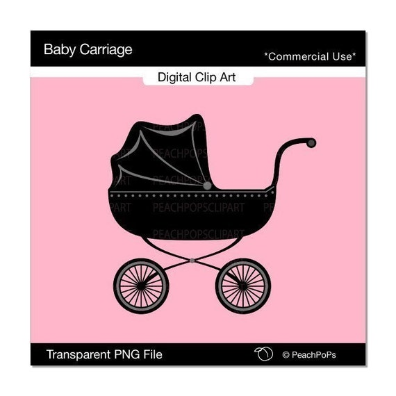 Baby Carriage - cute digital clip art - chic design element  - baby buggy, modern, baby, shower, pram, stroller, baby stroller, black - Personal and Commercial Use Clip Art