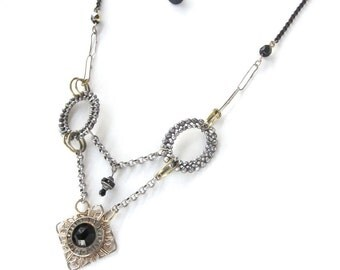 Dreamland Is Burning — Victorian stick-pin and cut-steel-buckle assemblage necklace