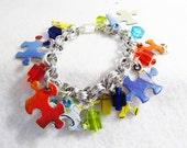 Reserved for Jennifer, Autism Awareness Puzzle Bracelet