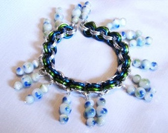Blue and White Bead Bracelet or Anklet- Chain maille