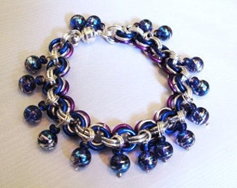 Blue and Purple Bead Bracelet or Anklet- Chain maille