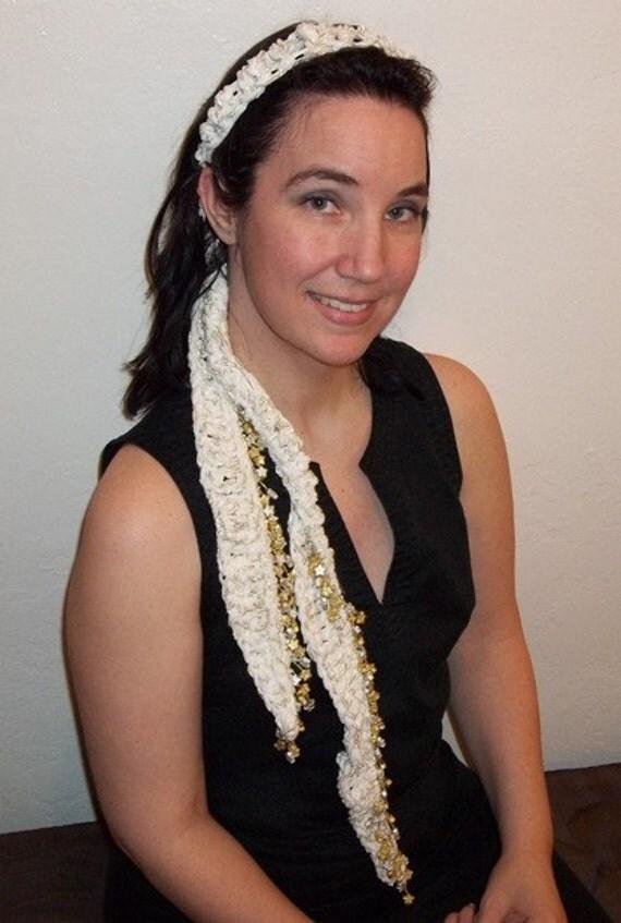 Beaded Crochet Scarf, Belt, Headband, wear many ways