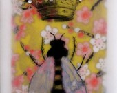 Queen Bee, Gold Crown, Pink flowers, Encaustic mixed Media collage 5x7 Print, Free Shipping in the USA