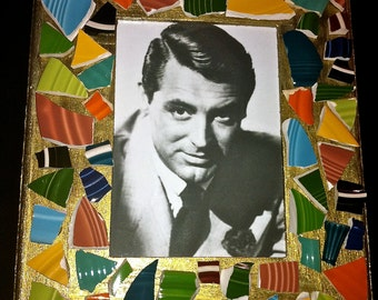 Mosaic Picture Frame American Pottery, Cary Grant or Your Picture