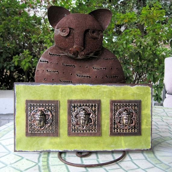 Mixed Media Mosaic Inspiration Altar - Peaceful Buddhas