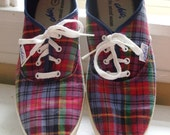 Vintage 1980s Red Plaid Sneakers,  Keds Style by Chic, Size 7.