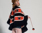 Vintage 1960s Knit Poncho Cape in Black, White, and Red, w/Pom Pom Tassles & Fringe