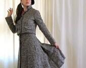 Vintage 1960s Geoffrey Beene Grey & Brown Tweed Suit, Skirt Jacket Set in Wool
