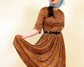 Vintage 1950s Brown Beige Print Day Dress w/Nipped Waist, Pleated Skirt by R&K Originals