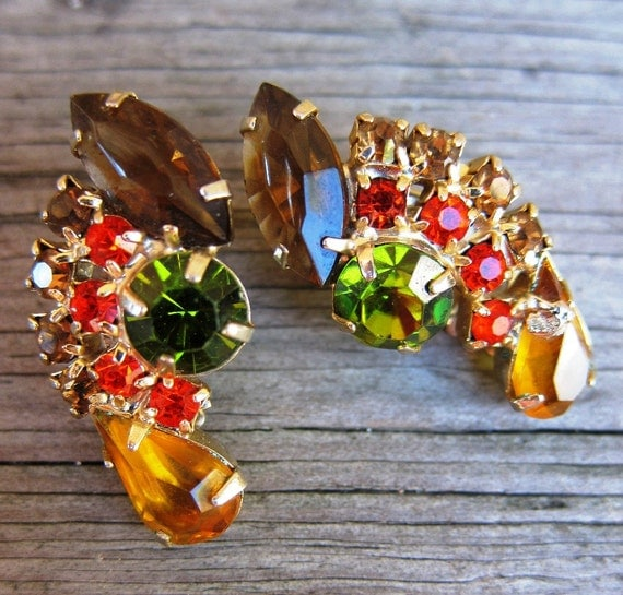 Vintage 1960s Jewel Tone Clip-On Earrings in Citrine, Topaz, & Olivine Rhinestones