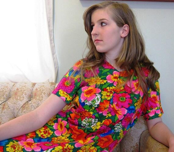 Vintage 1960s Floral Print Dress, A Line in Bright Multi-Color Pattern
