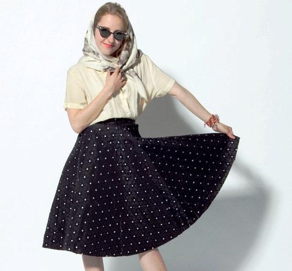Vintage 1950s Black & White Star Polka Dot Circle Skirt
