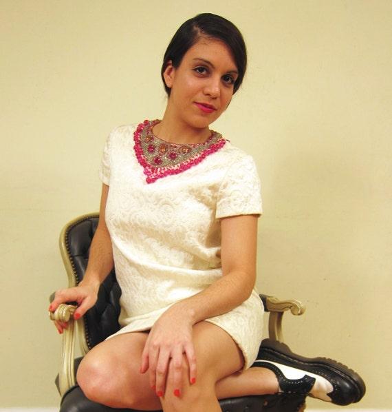 RESERVED FOR NATALEALYNCH Vintage 1960s Ivory Brocade Short Evening Dress