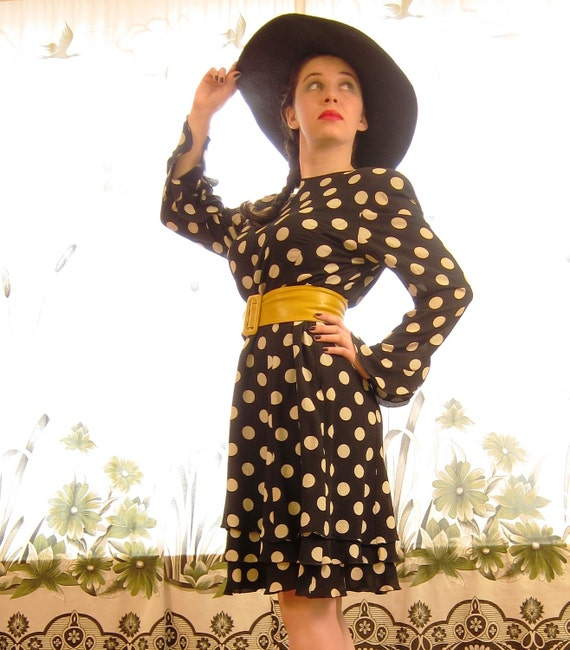 RESERVED FOR NORRELKE Vintage 1980s Couture Dress in Polka Dot Black & White by Ungaro Parallele